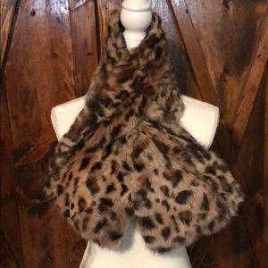 Adrienne Landau Rabbit Fur Leopard Print Scarf